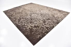 Damask Rugs Brown 9 U0027 X 12 U0027 Damask Rug Area Rugs Esalerugs