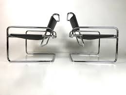 rare pair of mid century modern luigi saccardo chrome leather
