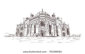 hand drawn sketch humayuns tomb new stock vector 703399084