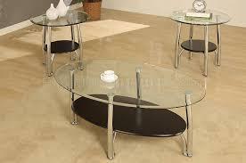 glass coffee table set of 3 metalic steel frame modern 3pc coffee table set w glass top