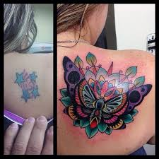 Flower Butterfly Tattoos 01 Traditional Colorful Butterfly With Flower On Right