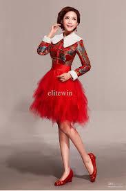 autumn wedding cheongsam dress red lace cheongsam fashion