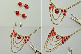 make bead chain necklace images How to make red glass beads and heart bead multi strands chain jpg