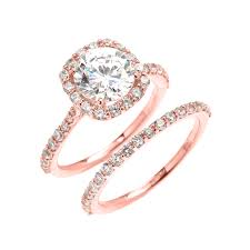 dainty engagement rings dainty gold 3 carat halo solitaire cz engagement wedding ring set