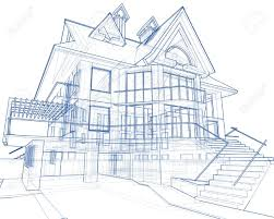 3d blueprint house vector technical draw stock photo picture and