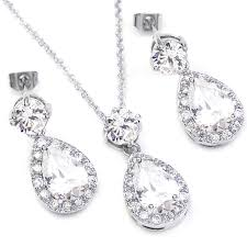 white gold necklace set images Fc jory white gold gp clear cz crystal teardrop bridal jpg