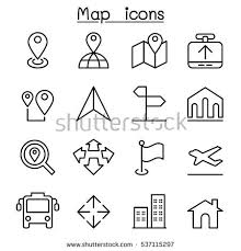 map icon thin line style stock vector 537115297 shutterstock