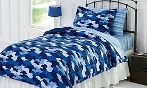 Army Bed Set Bright Blue Camouflage Army Boys Comforter Set 7 Bed