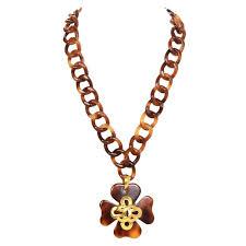 clover leaf necklace images Chanel vintage 39 95 tortoise and gold four leaf clover necklace at jpeg