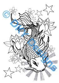 outline koi fish design tattooshunter com