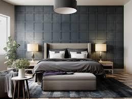 bedroom grey wall grey blanket dresser grey rug pendant light