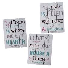 Home Decor Set by Inspirational Wooden Plaques Wall Art Home Decor Set Of 3