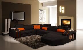orange leather sectional sofa casa 5038 modern black and orange leather sectional sofa