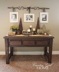 Country Style Curtains For Living Room Hang Family Pictures From A Curtain Rod Also Want This Table