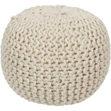 Knit Ottoman Pouf Knitted Wool Pouf In White Christopher David