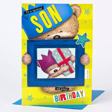 hugs birthday card son photo insert only 1 49