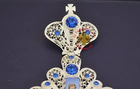 pectoral crosses pectoral cross silver filegree design 2 blue pectoral
