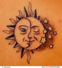 collection of 25 flaming sun and crescent moon tattoos on back