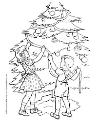 christmas tree coloring pages trimming the tree coloring sheet
