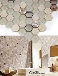 Hexagon Backsplash Tile by Oh So Exciting Iridescent Tile With Beige And Tan Cracked Glass