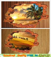 wall stickers oasis promotion shop for promotional wall stickers diy home decorations wall stickers living room bedroom 3d window desert oasis sunset scenery posters decals vinyl wall stickers