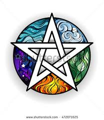 artistically painted magical pentagram elements water stock vector