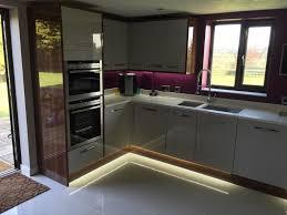 kitchen plinth lights modern grey u0026 walnut fitted kitchen
