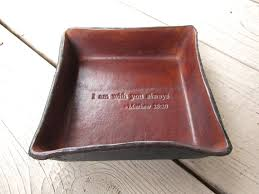 leather anniversary gifts for christian gift leather tray matthew 28 20 quotation