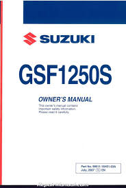 2008 suzuki gsf1250s k8 bandit motorcycle owners manual 99011