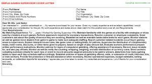 gaming supervisor cover letter