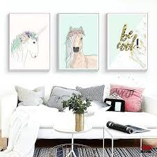 wall ideas 3 pieces canvas art animal white horses decorative