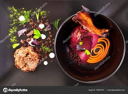 molecular cuisine molecular cuisine delicious soup with beetroot stock photo
