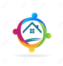 Home Design Logo by Teamwork People Around A House Logo Vector Design Royalty Free