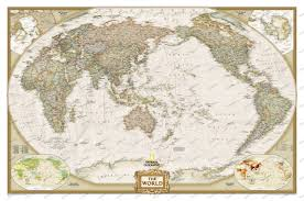 Large World Map Poster by Worldmaps In Pacific View
