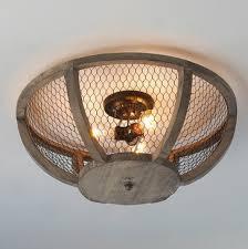 wood flush mount ceiling light flush mount chicken wire wood light fixture chicken wire basket