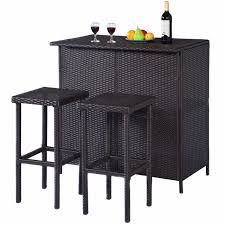 table with 2 stools goplus 3pcs rattan wicker bar set patio outdoor table 2 stools