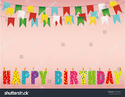 colorful happy birthday candles rainbow garland stock vector
