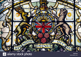 coat of arms of british columbia on a stained glass british