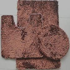 3 piece shiny soft padded chenille shag bath rug contour rug and