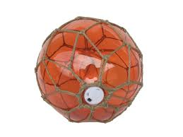 tabletop led lighted orange japanese glass fishing float with