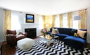 Gold Curtains Living Room Inspiration Living Room Blue Sofa Stripes Curtains White Ottoman Striped
