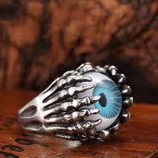 rings for men in pakistan blue eyeball ring skull ring titanium stainless steel men ring