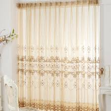 Yellow Sheer Curtains Polyester Golden Yellow Sheer Curtain With Vintage Patterns