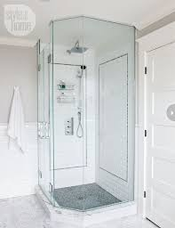 subway tile shower with accent white subway tile grey grout shower