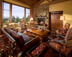Overstuffed Leather Sofa Overstuffed Chair Living Room Mediterranean With Fireplace Italian
