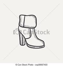vector clipart of high heeled ankle boot with fur sketch icon