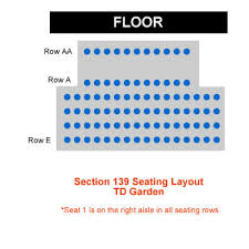 how many seats in a row in section 139 at td garden