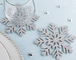 silver glitter snowflake felt coaster set of 4 kate aspen