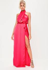 dress pink pink satin twist maxi dress missguided