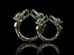 Viking Wedding Rings by 005 Fenrir Wedding Bands Emerald Silver Viking Ring With